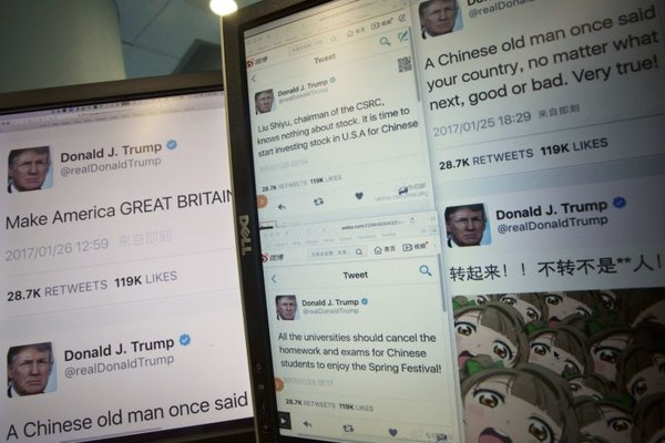 Chinese send fake Trump tweets as jokes, New Year wishes.