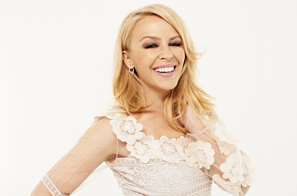 Kylie Minogue shows off her youthful looks as she marks her 50th birthday with star-studded bash from which ex Jason Donovan makes a rather worse for wear exit