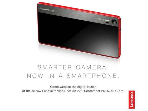 Lenovo Vibe Shot To be Launched on September 22nd