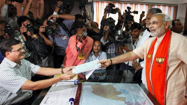 Modi calls Vadodara his 'karma bhoomi' as he files nomination.