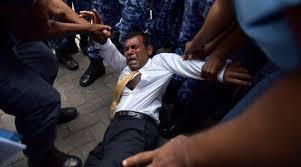 Former Maldives president Mohamed Nasheed denied bail, dragged into court.