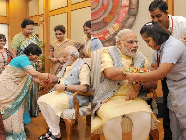 Women, Children tie Rakhi To Narendra Modi
