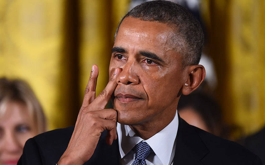 Obama Breaks down speaking about Gun Violence