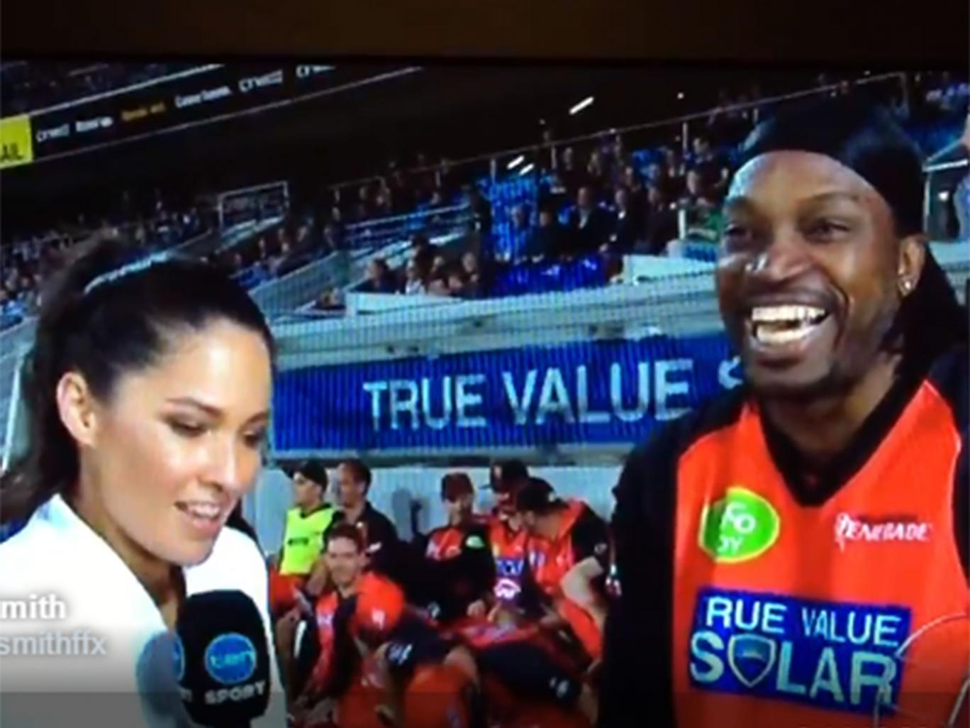 Chris Gayle flirts on Camera, raises new controversy